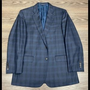 Brooks Brothers 1818 Navy Plaid Silk Blazer 42R